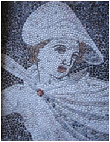 Détail du buste d'Alexandre, maison de Dionysos à Pella.