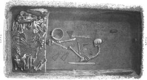 Guerrière Viking llustration par Evald Hansen basée sur le plan original de la tombe Bj 581; publiée en 1889