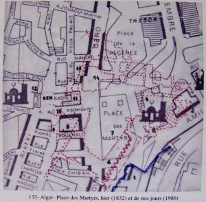 La mer 2- Bab al-Bhar 3- Jama'a al-Kabir 4- Jama'a al-Jadid 5- Qa' al-Sur (le bas de la muraille) 6- Batterie de défense 7- Les commerces 8- Place du Divan, puis de Juba 9- La rue et le marché Jenné 10- La rue du Divan 11- Dar Aziza 12- Jama'a Ketchaoua 13- Palais des Deys 14- Jama'a Sayyida (Ferrah, Abdelaziz. La Casbah d'Alger : ruines et espoir? Alger: Éditions ANEP, 2007.)